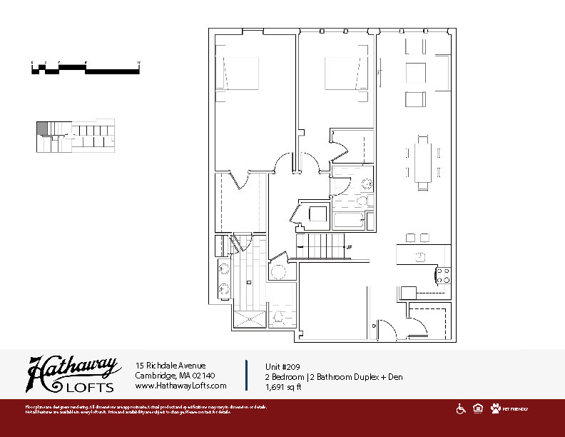 Unit 209 - 2 Bed | 2 Bath + Den - Hathaway Lofts