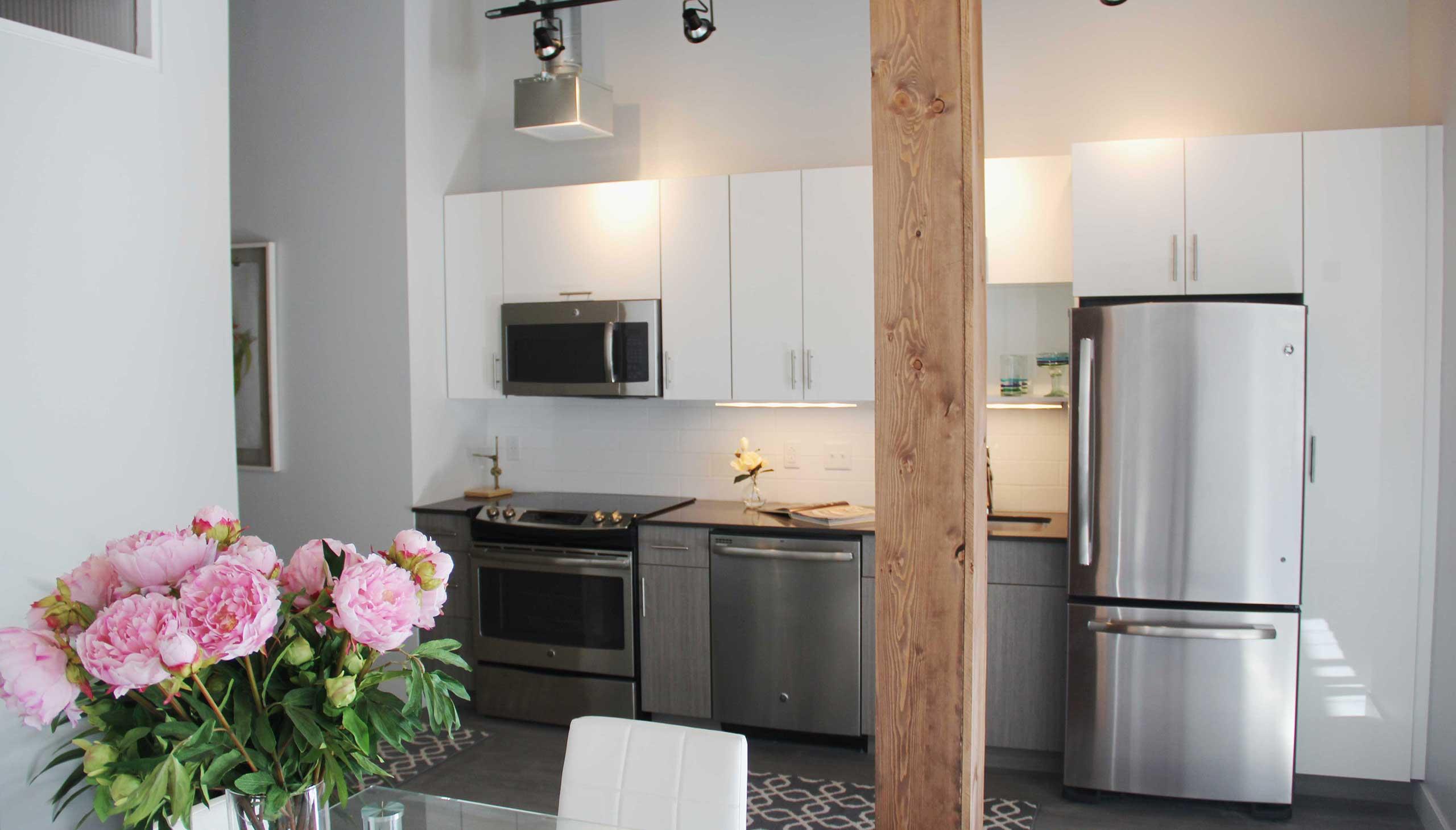 Hathaway Lofts Model Living Kitchen